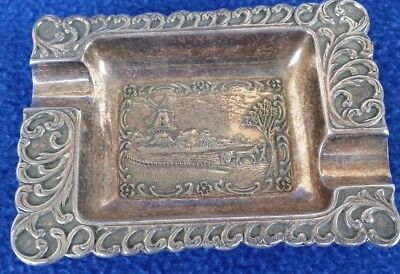 "Silver Plate Ashtray Holland Scene Great Condition About 4"" Long"