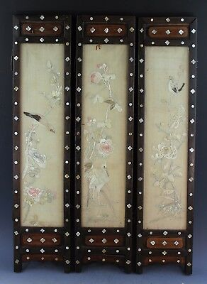 Antique Chinese Silk Embroidery Table Screen or Panel With Frames