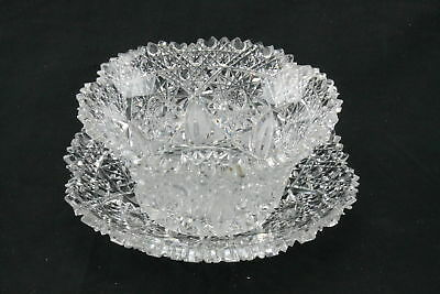 Antique Vintage American Brilliant Period Crystal Cut Glass Mayonnaise Bowl Set