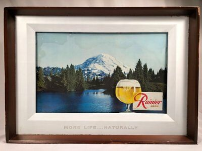 RARE VINTAGE 1950's RAINIER BEER LIGHTED BEER MOTION SIGN 3D MOUNTAIN SCENE