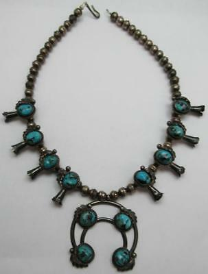 Vintage Sterling Silver Children's Navajo Squash Blossom Necklace Turquoise