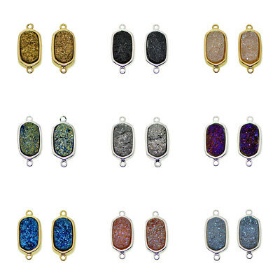 Natural Druzy Quartz Titanium Coated Oval Beads DIY Jewelry Bracelet Connector