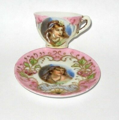 Miniature Portrait Cup and Saucer, Unmarked, doll-- MINT