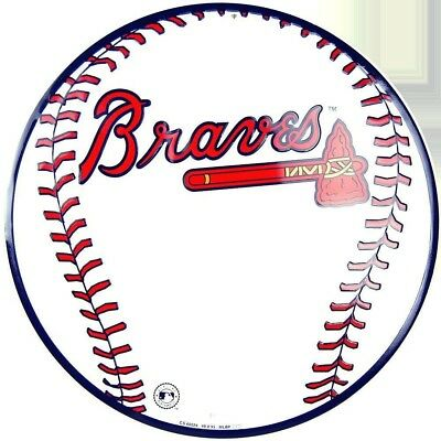 "Atlanta Braves Round Metal Baseball Sign 12"" Embossed Man Cave Sports Room"