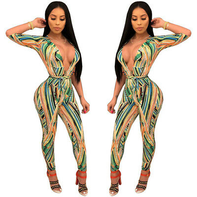Women long sleeves V neck print bodycon club party casual long jumpsuit