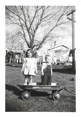 Vintage Old 1940's Photo Cute Little Girl & Boy Standing on Red Fox Wagon