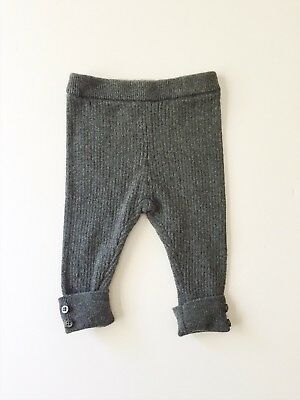 Zara Baby Mini Pants 3-6M Knitted Ribbed Charcoal Gray Heather Pant