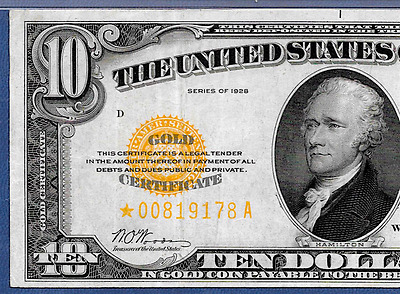 """1928 $10  """"gold Certificate""""   ♚Star♚  ♚Star♚  Pmg Ch Vf 35   Great Color!!!"""