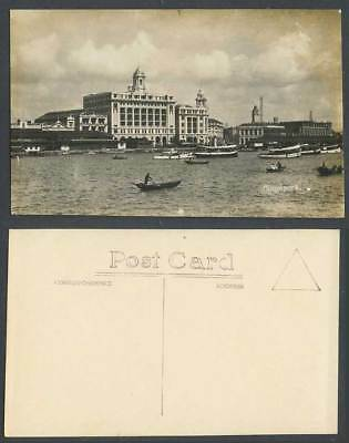 Singapore Old Real Photo Postcard Waterfront, Harbour Ships Ferry Boats Panorama