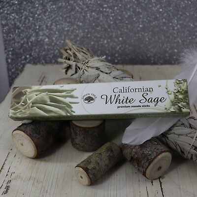 Green Tree 15gms CALIFORNIAN WHITE SAGE MASALA INCENSE STICKS Wicca Smudge Pagan