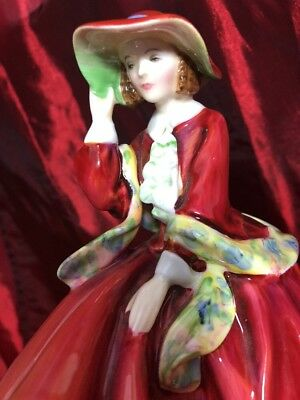 "Royal Doulton Top O' The Hill Hn1834 7.5"" Figurine, Mint, Red Dress Lady"