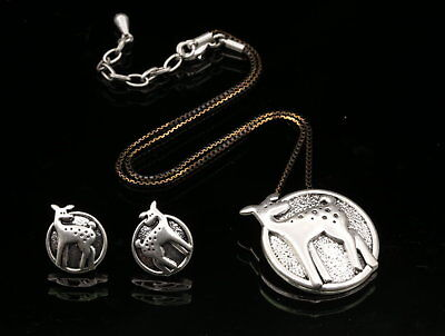 Deer round pendant gold chain silver plate necklace stud earrings jewelry S72
