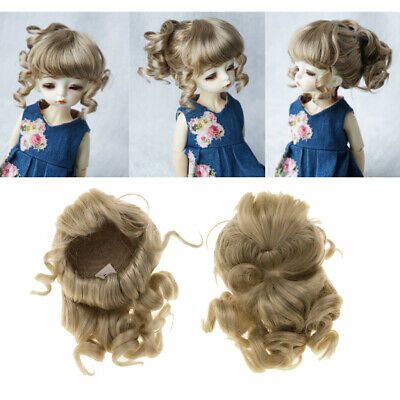 1/6 BJD Doll Cute Ponytail Wig Gold Hair for Dollfie DOD DZ Hairpiece Making