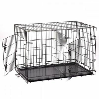 """""""48"""" Extra Large Dog Kennel Crate Collapsible Metal Pet Cage 2 Doors Tray Pan"""
