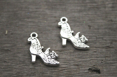 15pcs High Heel Shoe Charms silver tone Shoes with flowers Charm Pendant 20X19mm