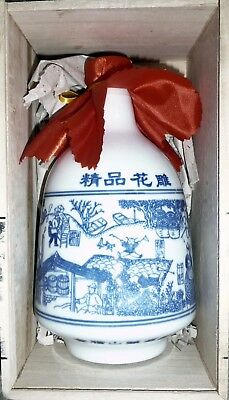 Chinese Wine in Beautiful Porcelain Bottle in Timber Case.