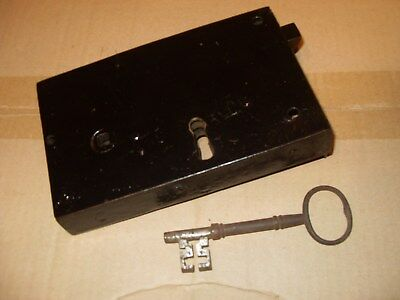 "Vintage Heavy Duty Door Lock With Key Approx. - 7"" x 4 9/16"" - As Photo's."