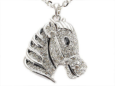 Silver Glamour Crystal Rhinestone Horse Head Pendant Necklace Party Jewelry Gift