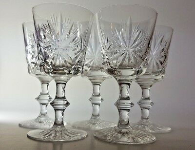 Set Of 5 Star Of Edinburgh Crystal Glasses - Port Wine Goblets 4.5""