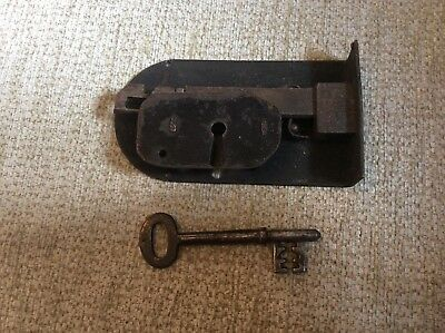 Antique Iron Lock  / rim door lock  with original working key Vintage Old