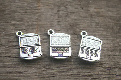 15pcs Laptop charms Silver Tone 3 D Laptop Computer Charm pendatns 14x21mm