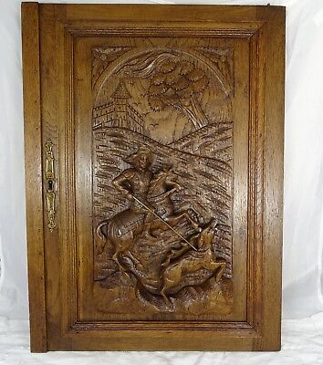 French Antique Hand Carved Oak Wood Door Panel- Stag Hunting - Scene Middle Age