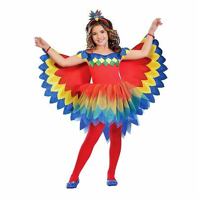 Kids Girls Rainbow Pretty Parrot Fairy Bird Animal Wild Fancy Dress Book Costume