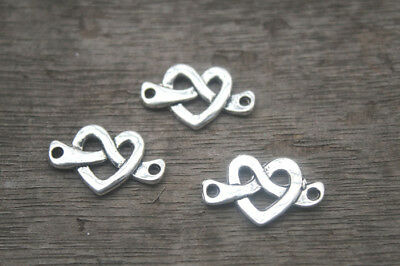 5 Heart Knot Connector Charms Antique Silver Tone SC310