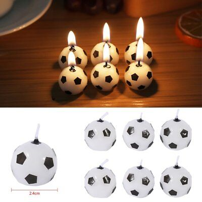6pcs Soccer Football Candles Ball Shaped Cake Topper Birthday Party Decoration