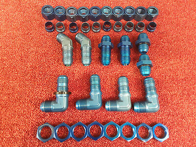 "Job Lot Of 1-1/16"" AN12 JIC Blue Aluminium Hydraulic Air Oil Fittings Lot B*"