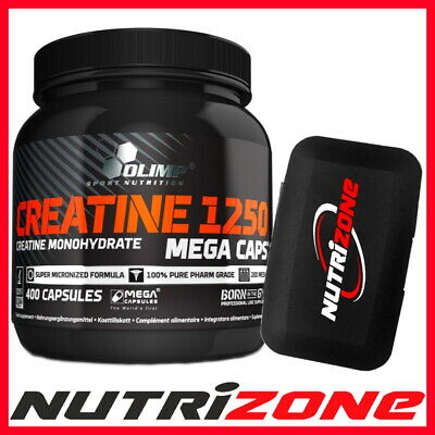 OLIMP CREATINE MONOHYDRATE 1250mg Strength Power Booster 400 Mega Caps + PILLBOX