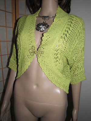 Rare Olive Green Viscose Hollow Knit Novelty Button ShortSleeve Boutique Sweater
