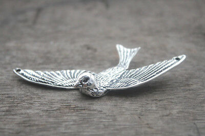 3pcs Sparrow charms silver tone Lovely Huge Heavy Bird charm Pendant 31x74mm