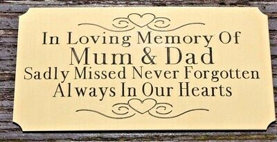 "Solid Brass Memorial Bench Plaque Grave Marker Sign 4""X2"" Personalised Own Words"