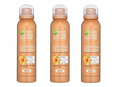 3 X GARNIER NO STREAKS BRONZER SELF TANNING DRY BODY MIST SPRAY - LIGHT fake tan