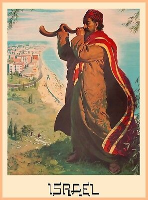 Israel Palestine Man Blowing Horn Vintage Travel Advertisement Art Poster Print