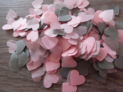 2000 Baby Pink and Grey Hearts/Wedding Confetti Party Bio Throwing Decoration