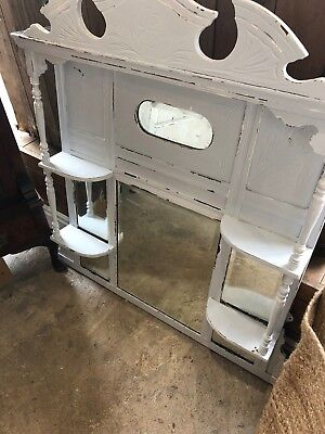 Vintage mirror with side shelves hallway cream painted rustic chipped