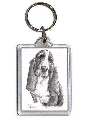 Mike Sibley Basset Hound Quality Acrylic Keyring 50mm x 35mm - Dog Lover Gift