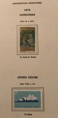 Australia 1973 Perforation Variations For Christmas And Opera House Stamps - Muh
