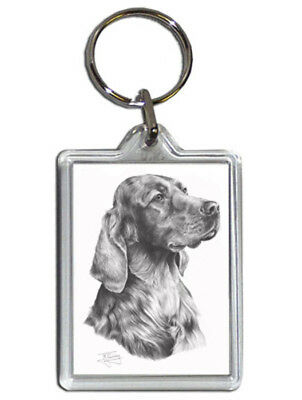 Mike Sibley Irish Setter Quality Acrylic Keyring 50 mm x 35 mm - Dog Lover Gift