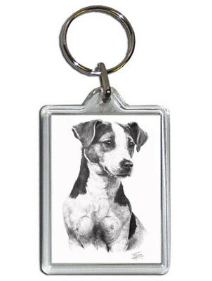Mike Sibley Jack Russell Quality Acrylic Keyring 50 mm x 35 mm - Dog Lover Gift