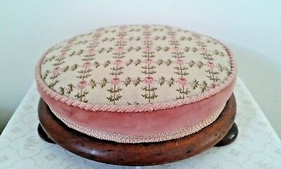 Vintage Edwardian oak foot rest stool with pink embroidered flowers