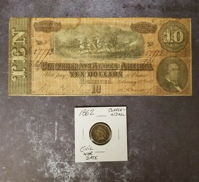 1864 $10 Confederate States Of America & A Civil War Dated Indian Cent Coin