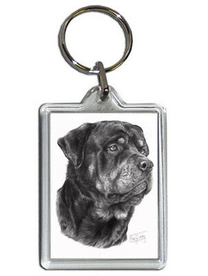 Mike Sibley Rottweiler Quality Acrylic Keyring 50 mm x 35 mm - Dog Lover Gift