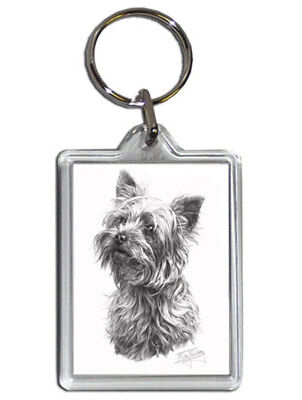 Mike Sibley Yorkshire Terrier Quality Acrylic Keyring 50mmx35mm - Dog Lover Gift