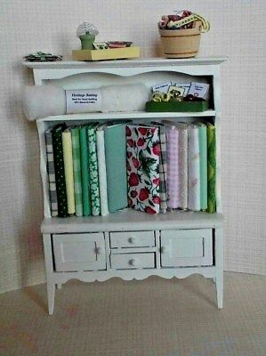 Dollhouse Miniatures Sewing Cabinet w/fabric Quilting & Sewing Supplies 1:12