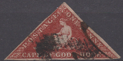 Cape of Good Hope 1850's Triangle Used 1d Brick Red SG ??  3 MARGINS JUST