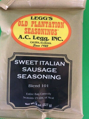 SWEET Italian Sausage seasoning for 25 lbs.  Old plantation from AC Legg