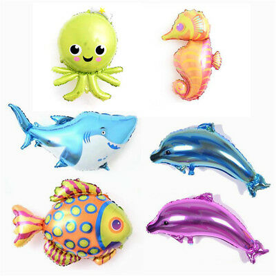 Sea Fish Octopus Dolphin Aluminum Foil Balloons Birthday Party Decor Toys Gifts